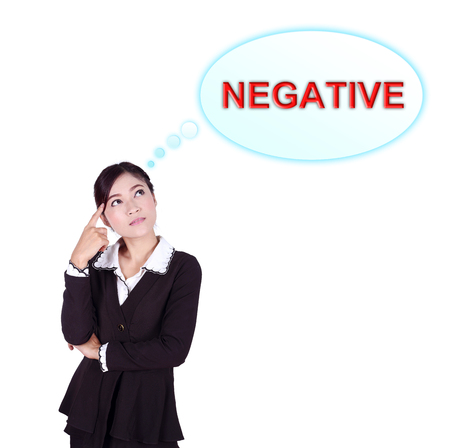 failures: Business woman thinking about negative thinking isolated on white background
