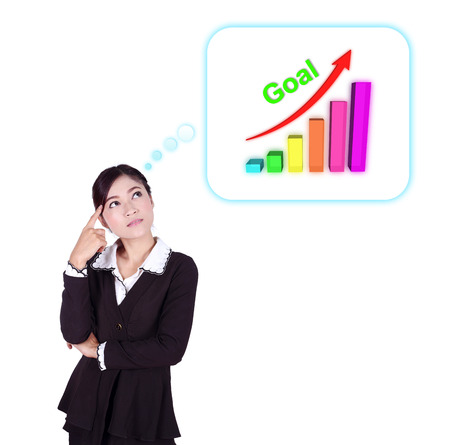 Business woman thinking about goal and graph isolated on white background photo
