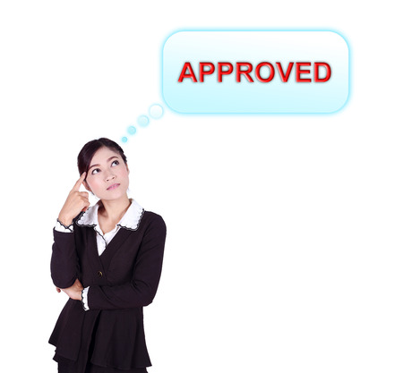 Business woman thinking about approved isolated on white background Stock Photo - 26763224