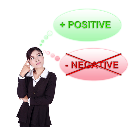 Business woman thinking about positive thinking isolated on white background photo