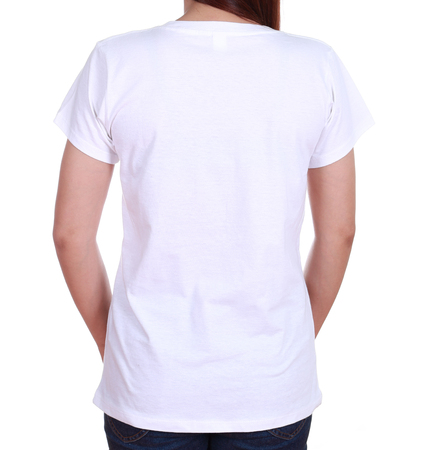 close-up female with white blank t-shirt (back side) isolated on white background photo