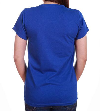 close-up female with blue blank t-shirt (back side) isolated on white background photo