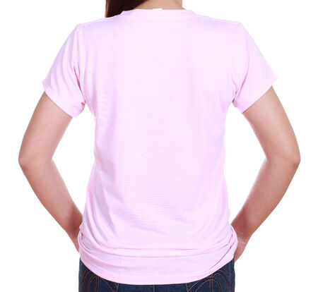 close-up female with pink blank t-shirt (back side) isolated on white background photo