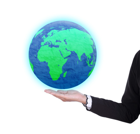 earth globe in business woman hand isolated on white background photo
