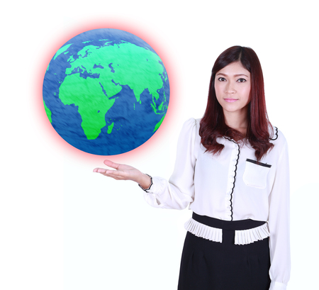 businesswoman holding the Earth in her hand isolated on white background photo