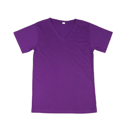 purple dress: violet t-shirt template (front side) on white background Stock Photo
