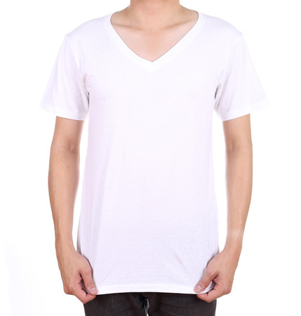 blank white t-shirt on man (front side) isolated on white background photo