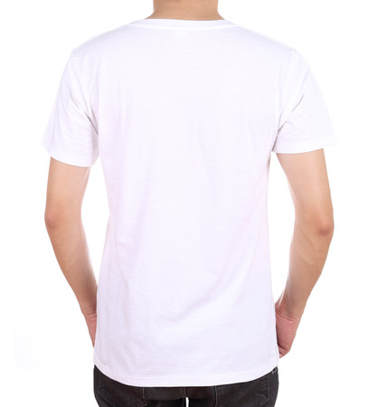 blank white t-shirt on man (back side) isolated on white background photo