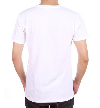 blank white t-shirt on man (back side) isolated on white background photo