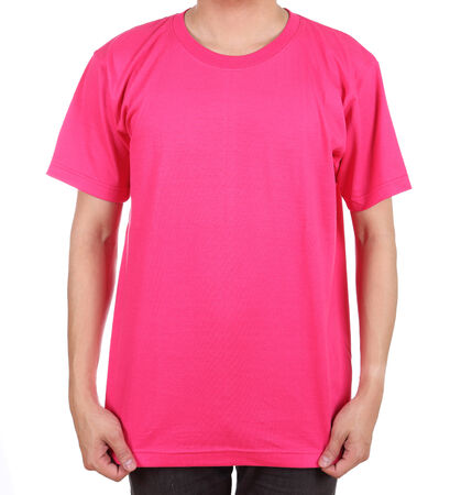 blank pink t-shirt on man (front side) isolated on white background photo