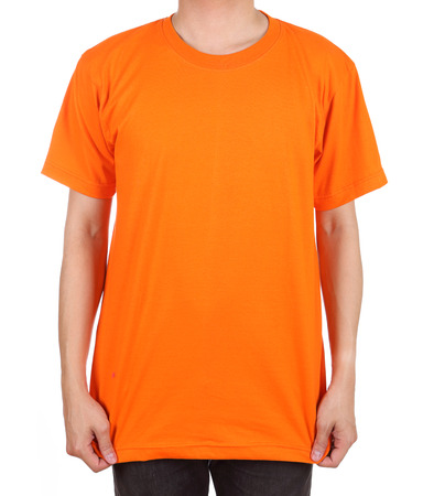 short back: blank orange t-shirt on man (front side) isolated on white background Stock Photo