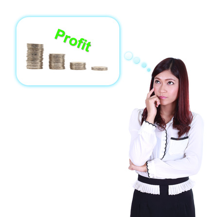 Business woman thinking about profit and coin graph isolated on white background photo