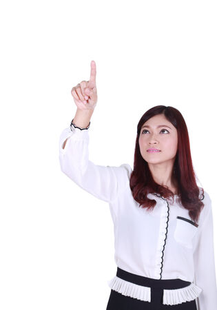 business woman pressing button or something on white background photo