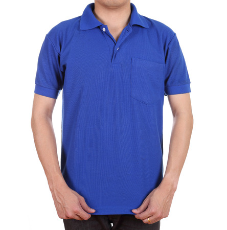 blank blue polo shirt (front side) on man isolated on white background photo