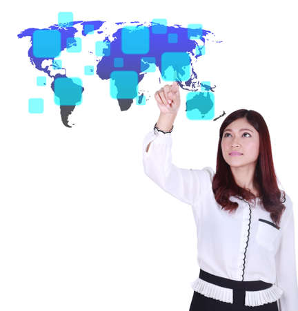 business woman pushing a button on a world map touch screen interface  (choose Asia) photo