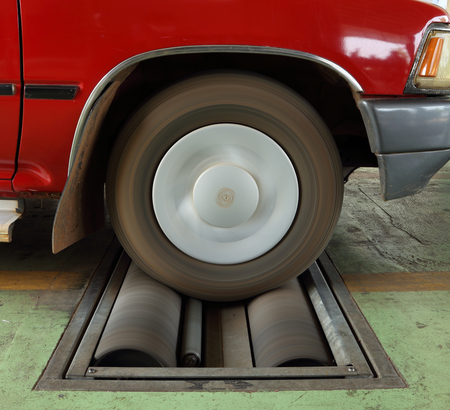 brake testing system of the old car (front wheel) photo