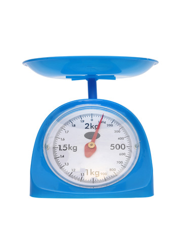 weight measurement balance isolated on white background (100 gram) Stock Photo