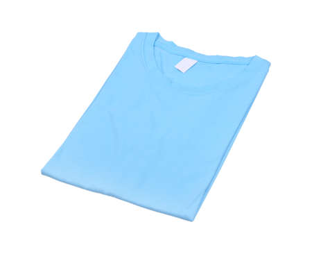 folded t-shirt isolated on white background (with clipping path) photo