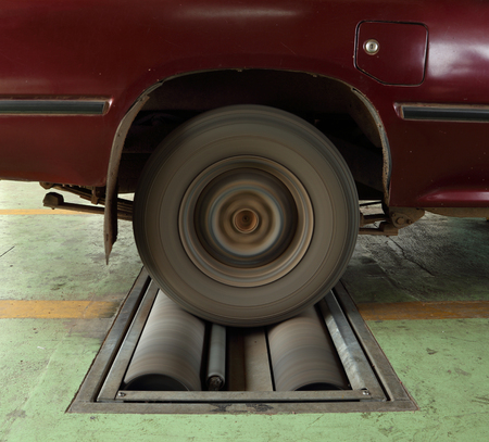brake testing system of the old car (rear wheel) photo