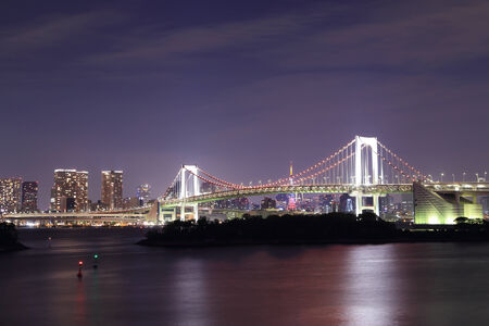 Tokyo Rainbow Bridge at Night, Odaiba, Japan photo