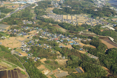 japan rural aerial view from an airplane photo