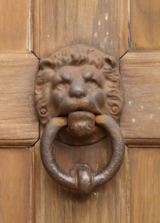 vintage oriental knocker door of metal lion on wood door photo