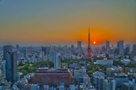 top view of Tokyo cityscape at sunset, Japan