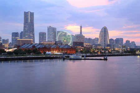 View of marina bay in Yokohama City, Japan photo