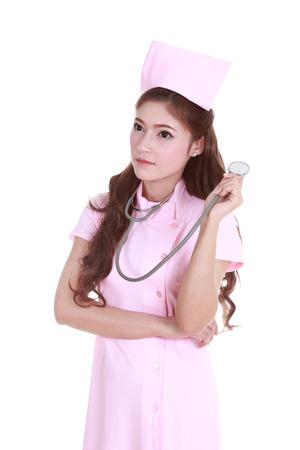 female nurse with stethoscope isolated on white background photo