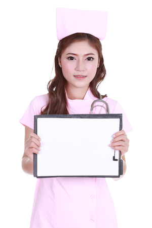 beautiful female nurse showing a blank report isolated on white background photo