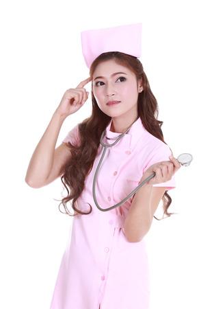 female nurse thinking with stethoscope photo