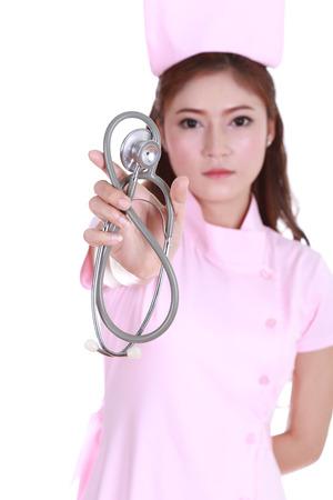 stethoscope with nurse isolated on white background photo