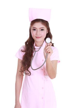 female nurse with stethoscope isolated on white  photo