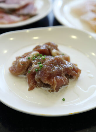 raw pork with spicy sauce prepare for grilled photo