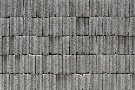 hollow walls: grey brick wall for background or texture Stock Photo