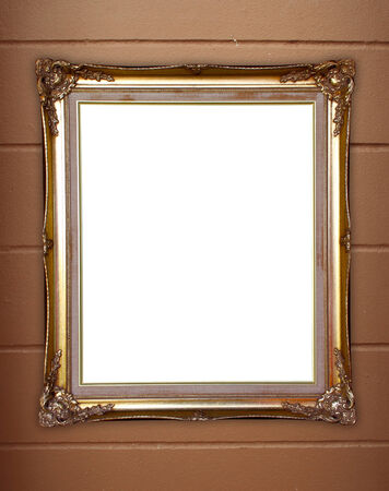 blank golden frame on whtie cement wall background photo