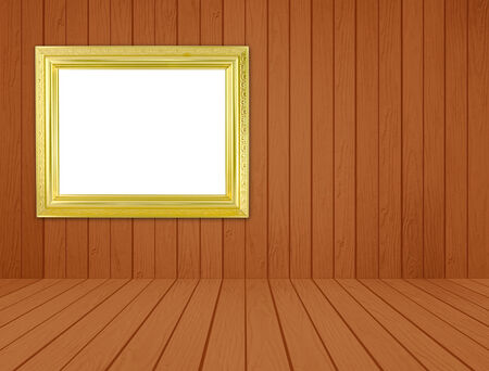 blank golden frame in room with white wood wall and wood floor background photo