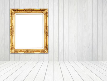 white wood floor: blank golden frame in room with white wood wall and wood floor background