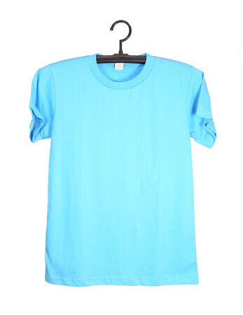 blue t-shirt template on hanger (front side) isolated on white background photo