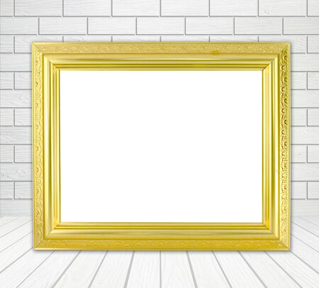 blank golden frame in room with white wood wall (block style) and wood floor background photo