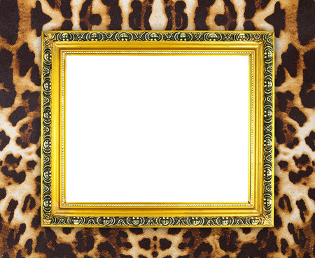 blank golden frame with leopard texture background photo