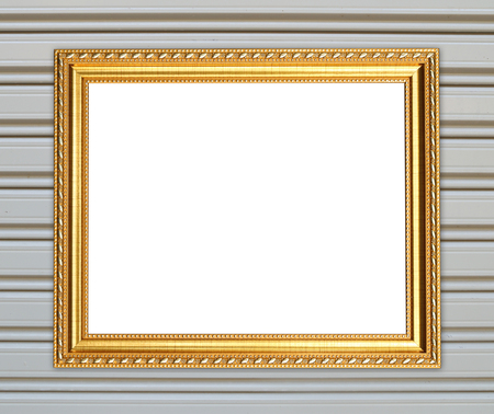 blank golden frame on metal wall background photo
