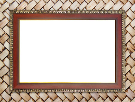 blank wood frame on bamboo wall background photo