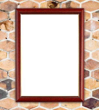 blank wood frame on  hexagonal clay wall background photo