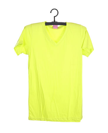 t-shirt template on hange (front side) isolated on white background (with clipping path) photo