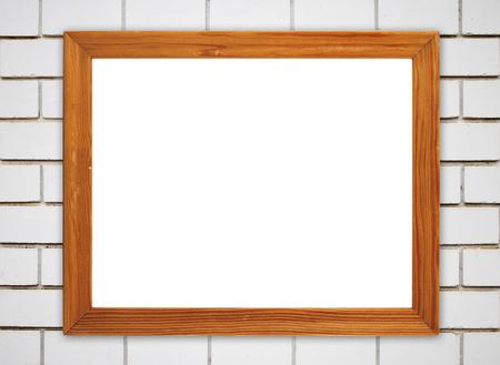 blank wood frame on brick stone wall background photo