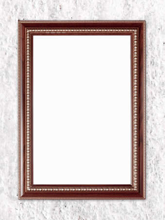blank wood frame on stone cement wall background photo