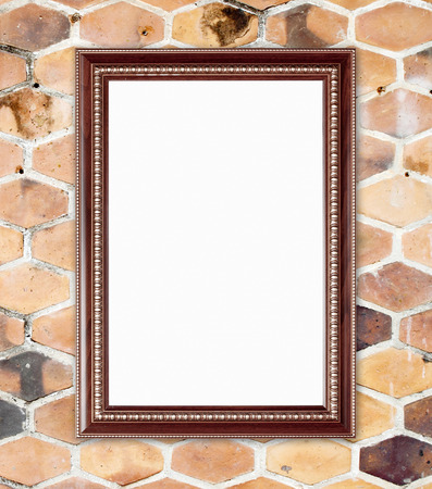 wood frame on  hexagonal clay wall background photo