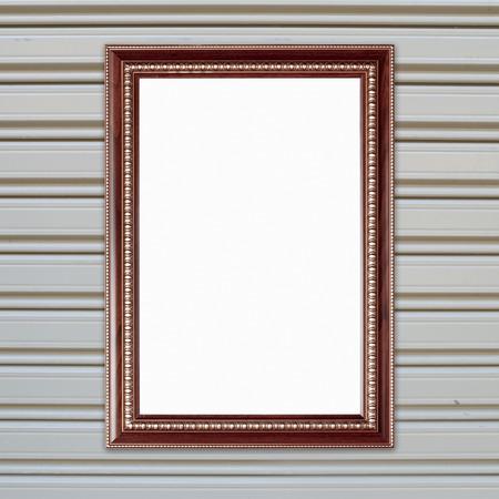 metall texture: blank wood frame on metall door texture background