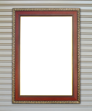 blank wood frame on metall door texture background photo